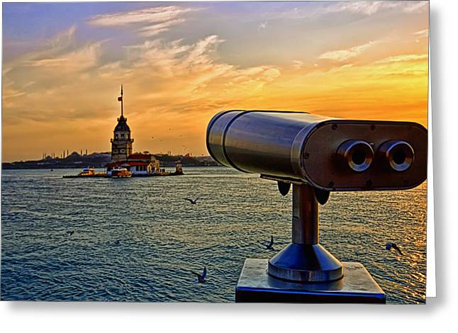Sight See Greeting Cards - The Maiden Tower At Istanbul Greeting Card by Leyla Ismet