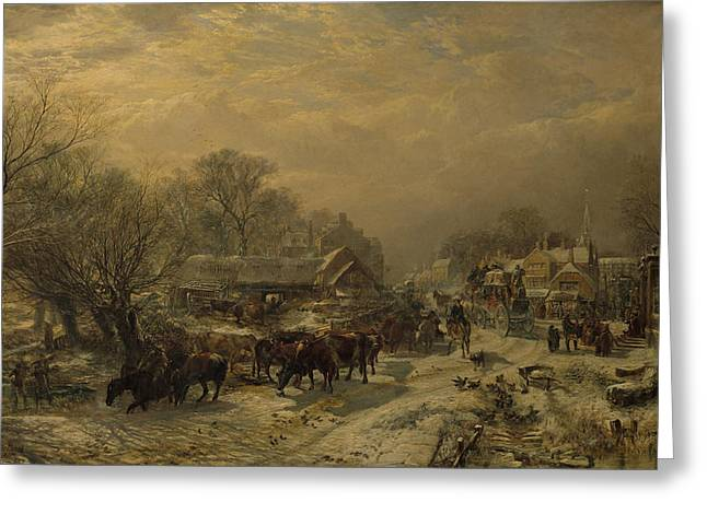 Postal Paintings Greeting Cards - The Mail Coach, 1855 Greeting Card by Samuel Bough