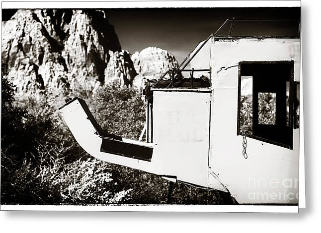 Contemporary Cowboy Gallery Greeting Cards - The Mail Coach Greeting Card by John Rizzuto