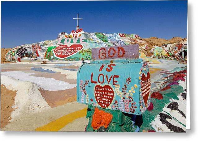 Salvation Mountain Greeting Cards - The mailbox Greeting Card by Nastasia Cook