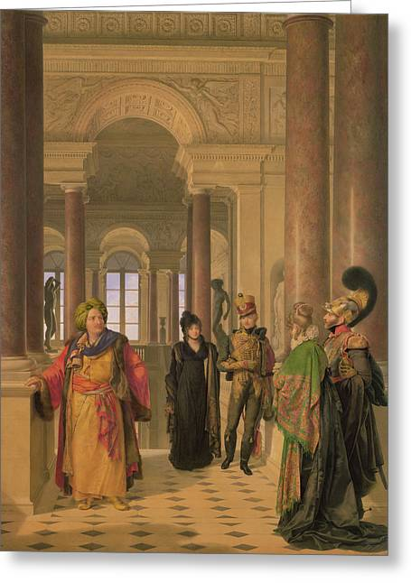Visitors Greeting Cards - The Main Staircase Of The Louvre, 1817 Wc On Paper Greeting Card by Louis Eugene Gabriel Isabey