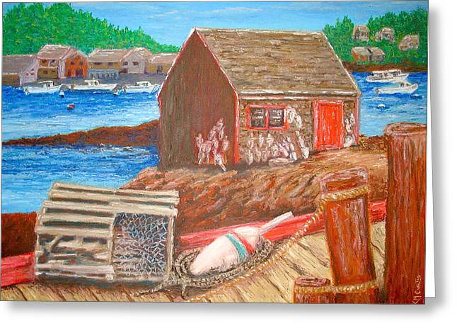 Lobster Shack Paintings Greeting Cards - The Maine Shack Greeting Card by Keith Curtis