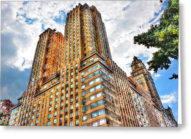 Central Park West Greeting Cards - The Majestic Building Central Park West Greeting Card by Randy Aveille