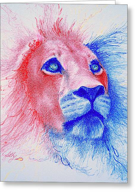 Lions Greeting Cards - The Majestic Majesty  Greeting Card by Fithi Abraham
