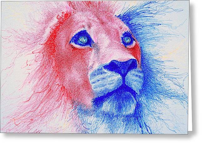 Lion Greeting Cards - The Majestic Majesty  Greeting Card by Fithi Abraham