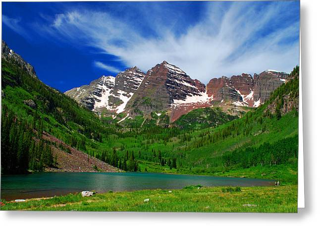 Climbing In Greeting Cards - The Majestic Maroon Bells with Tiny Tourists Greeting Card by John Hoffman