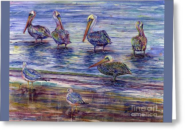 Pacific Ocean Prints Greeting Cards - The Majestic Pelican Visit Greeting Card by Cynthia Pride