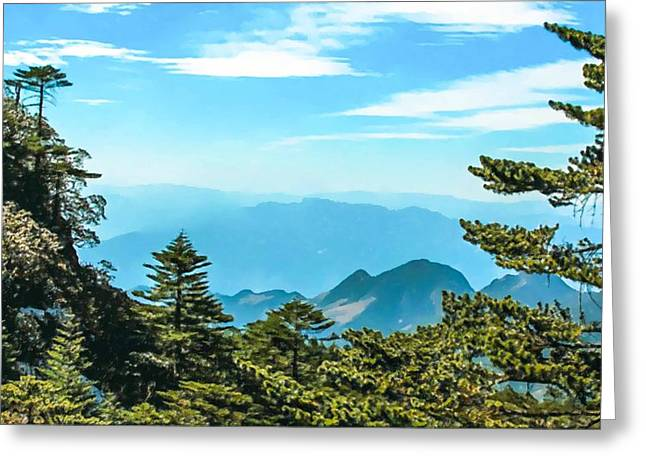 Human Survival Paintings Greeting Cards - The majestic snow capped mountains Greeting Card by Lanjee Chee