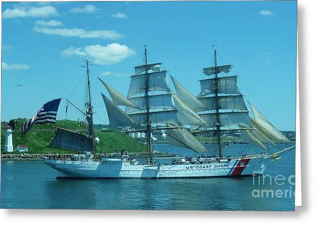 The Majestic Us Coast Guard Greeting Card by John Malone