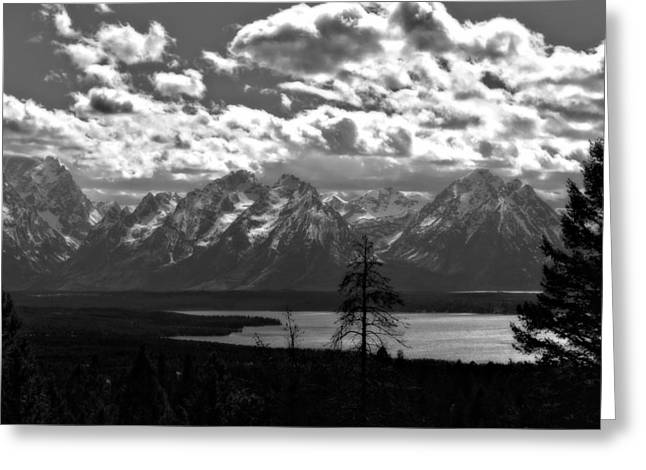 Moran Greeting Cards - The Majesty Of Mountains In Black And White Greeting Card by Dan Sproul