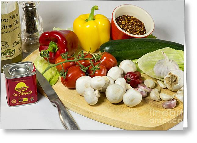 Olive Oil Greeting Cards - The Makings of Chilli Greeting Card by Donald Davis