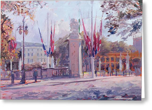 Empty Street Greeting Cards - The Mall Oil On Canvas Greeting Card by Sarah Butterfield