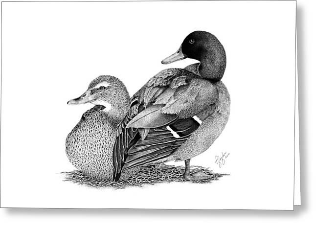 Mallard Drawings Greeting Cards - The  Mallards Greeting Card by Linda Pfeifer