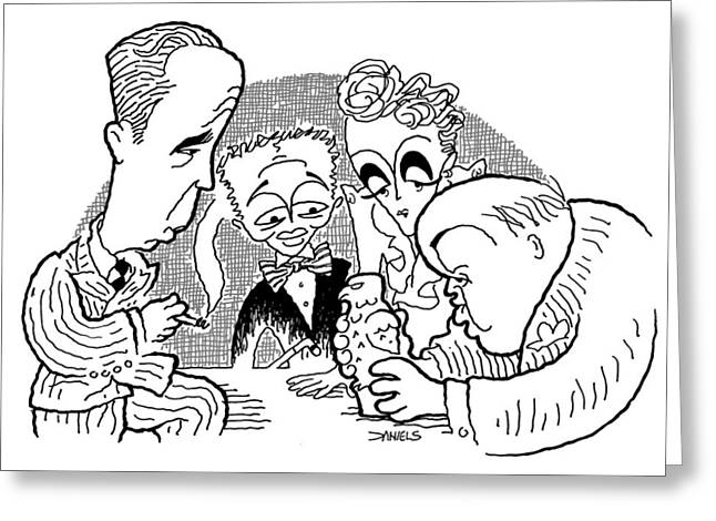 Lorre Greeting Cards - The Maltese Falcon Cartoon Greeting Card by Stephen Daniels