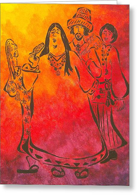 Pop Music Mixed Media Greeting Cards - The Mamas and Papas Greeting Card by Pamela Allegretto