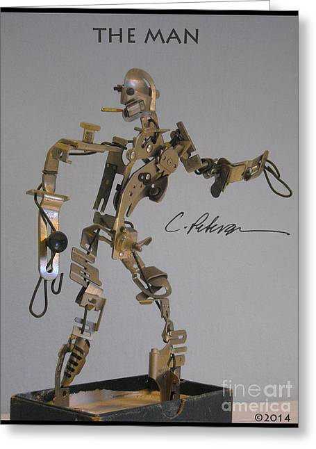 Scene Sculptures Greeting Cards - The Man. An original sculpture of found objects Greeting Card by Cathy Peterson