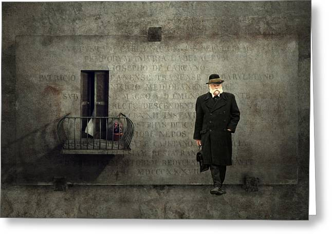 Interesting Scene Greeting Cards - The man Greeting Card by Heike Hultsch