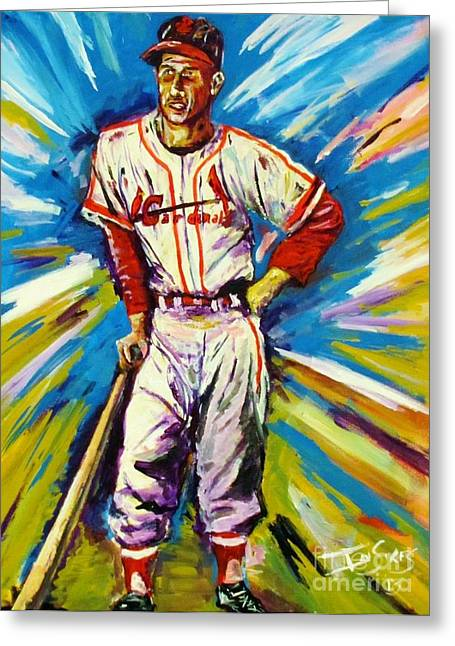 Baseball Paintings Greeting Cards - The Man Greeting Card by Ian Sikes