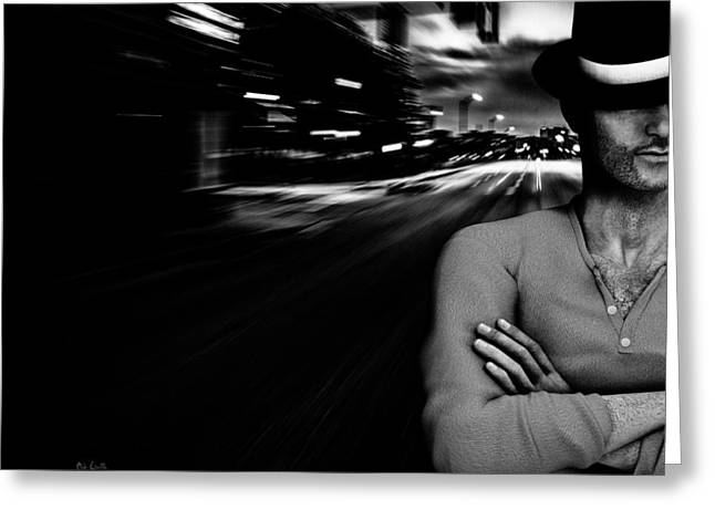 City Streets Photographs Greeting Cards - The Man In The Hat Returns Greeting Card by Bob Orsillo