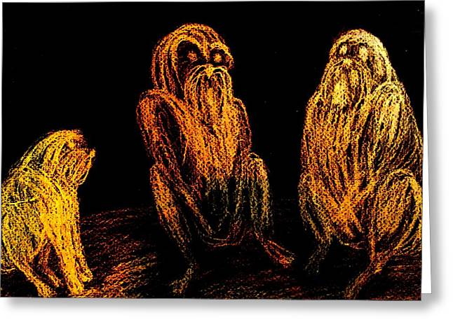 The Wise Man In The Middle Of The Group  Greeting Card by Hilde Widerberg