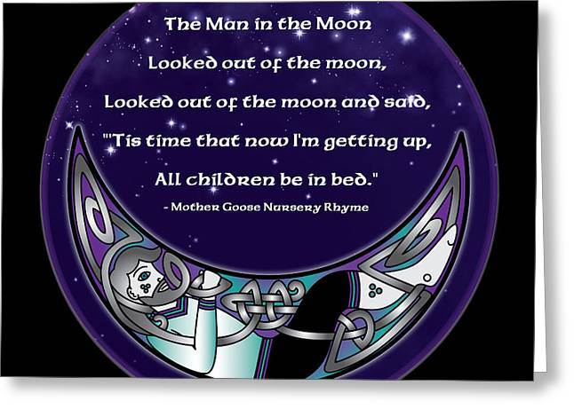 Mother Goose Greeting Cards - The Man in the Moon Greeting Card by Celtic Artist Angela Dawn MacKay