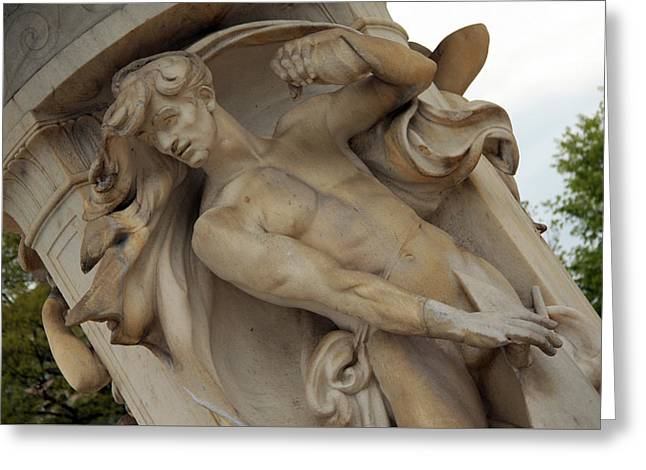 Dupont Circle Fountain -- The Male Wind Greeting Card by Cora Wandel