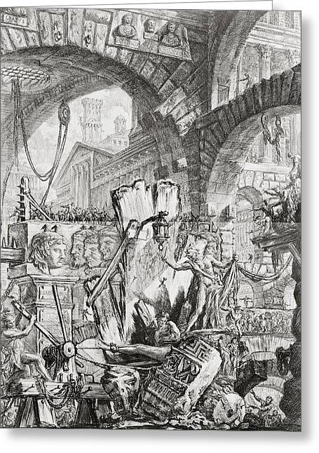 Basement Drawings Greeting Cards - The Man on the Rack plate II from Carceri dInvenzione Greeting Card by Giovanni Battista Piranesi