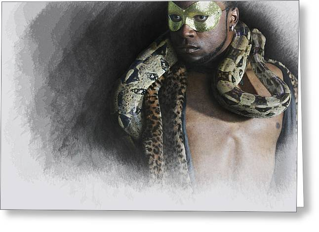 Black Man Digital Art Greeting Cards - The man  The snake Greeting Card by Jeff Burgess
