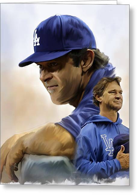 Yankees Drawings Greeting Cards - The Manager  Don Mattingly Greeting Card by Iconic Images Art Gallery David Pucciarelli