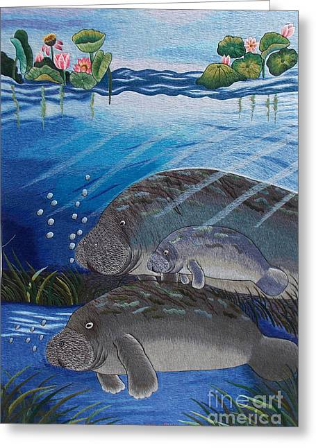 Totam Tapestries - Textiles Greeting Cards - The Manatees hand embroidery Greeting Card by To-Tam Gerwe