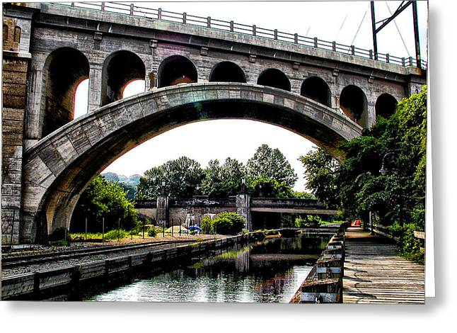 Phila Digital Greeting Cards - The Manayunk Bridge over the Canal Greeting Card by Bill Cannon