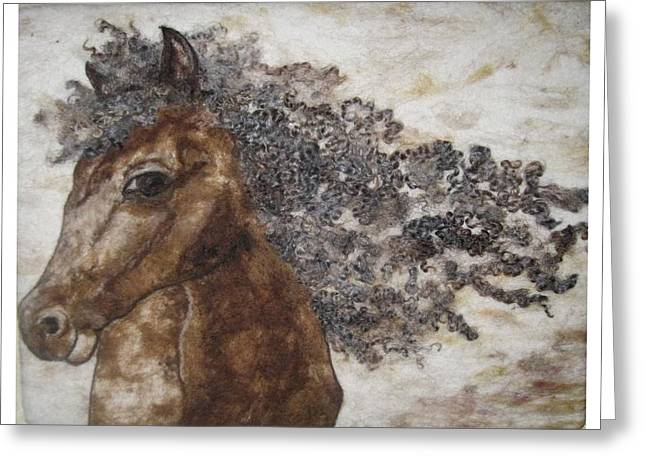 Wild Horses Tapestries - Textiles Greeting Cards - The Mane Affair Greeting Card by Bonnie Nash