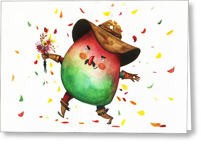 Mango Paintings Greeting Cards - The Mango Sheriff Greeting Card by Alina  Kuzmenko