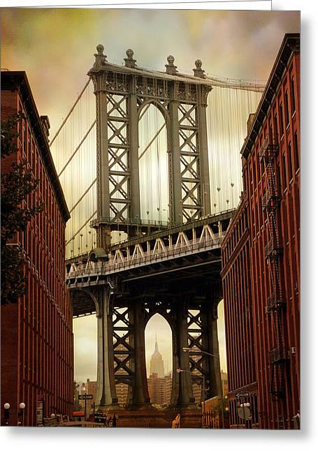 Famous Bridge Greeting Cards - The Manhattan Bridge Greeting Card by Jessica Jenney