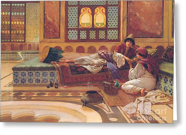 Harem Paintings Greeting Cards - The Manicure Greeting Card by Rudolphe Ernst