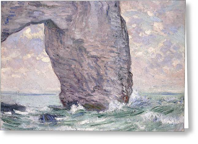 Print On Canvas Greeting Cards - The Manneporte seen from Below Greeting Card by Claude Monet