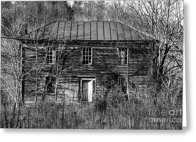 Abandoned House Greeting Cards - The Mansion BW Greeting Card by Teresa Mucha