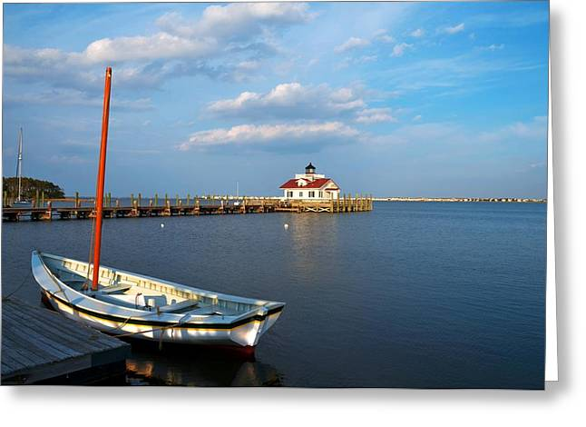 Docked Sailboats Photographs Greeting Cards - The Manteo Waterfront Greeting Card by Mel Steinhauer
