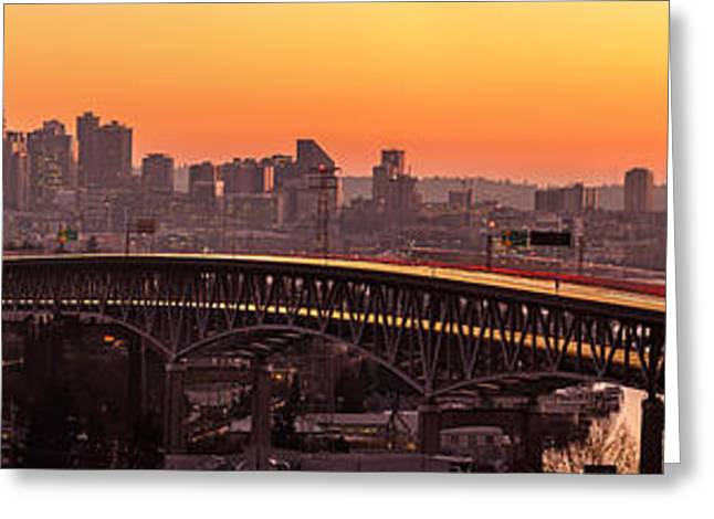 The Many Shades Of Seattle Sunset Greeting Card by Mike Reid