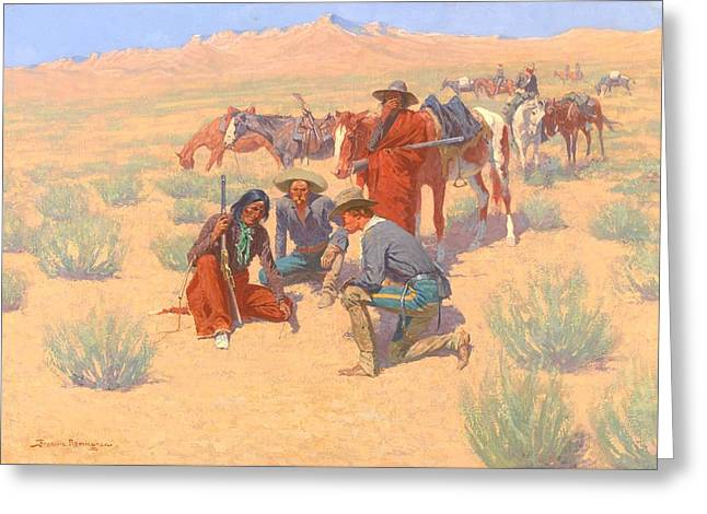The Map In The Sand, 1905  Greeting Card by Frederic Remington