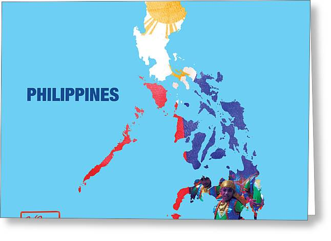 Counry Greeting Cards - The Map of Philippines Greeting Card by To-Tam Gerwe