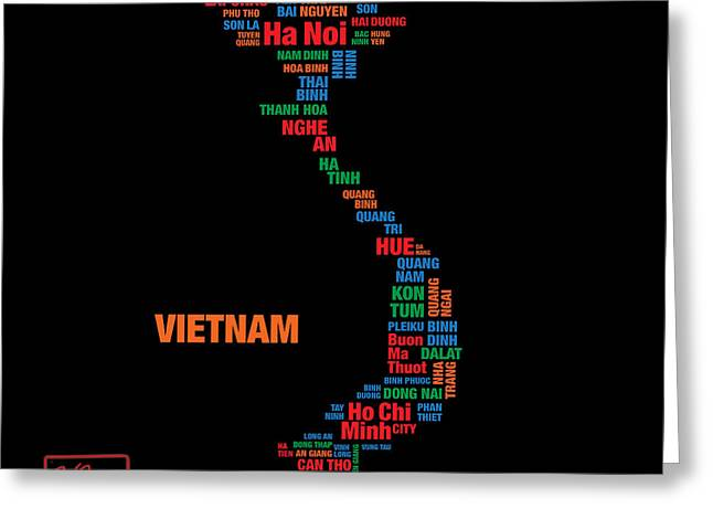 Hoa Greeting Cards - The Map of Viet Nam Greeting Card by To-Tam Gerwe