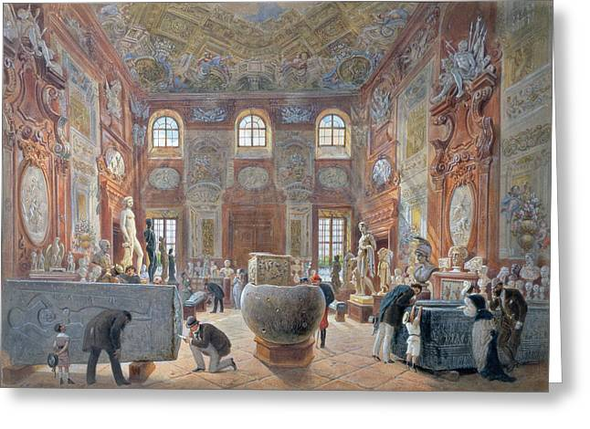 Sculpture Gallery Greeting Cards - The Marble Room With Egyptian, Greek And Roman Antiquities Of The Ambraser Gallery In The Lower Greeting Card by Carl Goebel