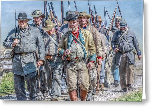 Soldiers From The Civil War Greeting Cards - The March from Cashtown Greeting Card by Randy Steele