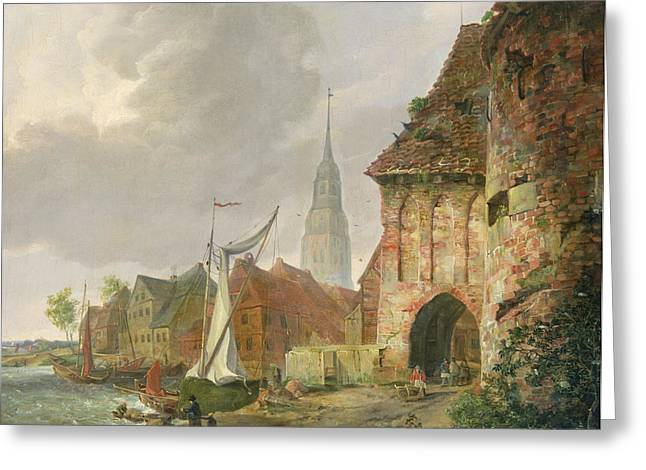 Sailboats In Harbor Greeting Cards - The March Gate in Buxtehude Greeting Card by Adolph Kiste