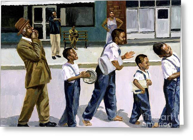 African-american Paintings Greeting Cards - The Marching Band Greeting Card by Colin Bootman