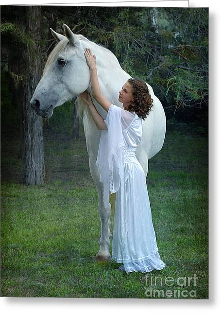 White Maiden Greeting Cards - The Mare and the Maiden Greeting Card by Fran J Scott