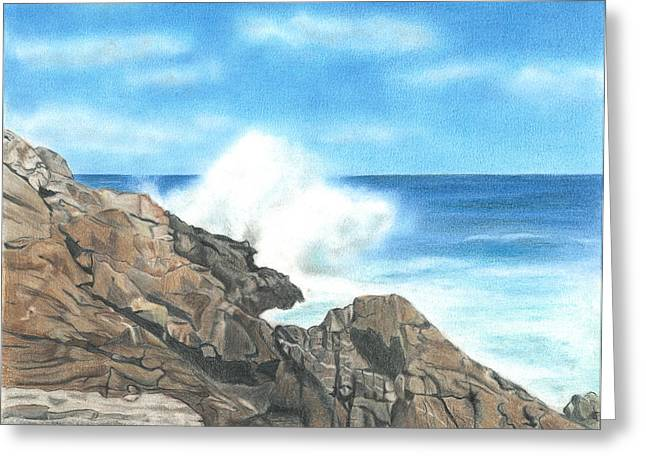 Maine Coast Drawings Greeting Cards - The Marginal Way Greeting Card by Troy Levesque