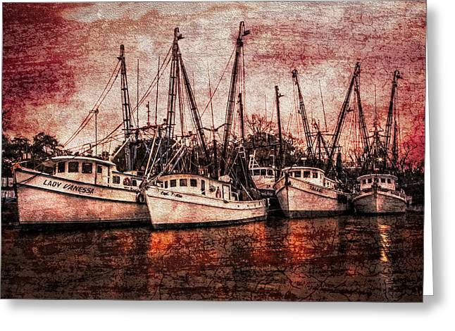 Shrimpers Greeting Cards - The Marina Greeting Card by Debra and Dave Vanderlaan