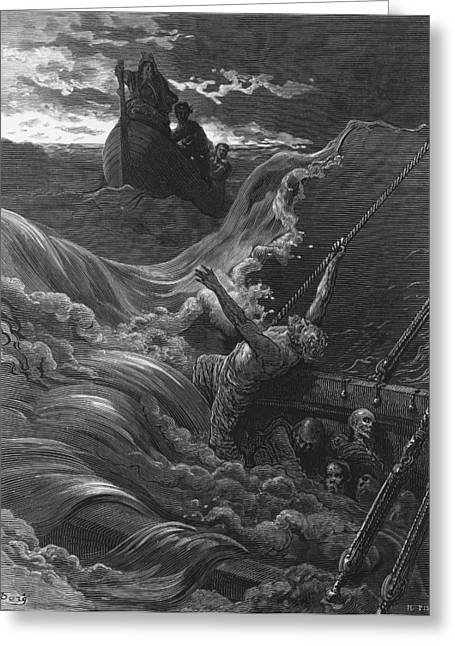 Literary Drawings Greeting Cards - The mariner as his ship is sinking sees the boat with the Hermit and Pilot Greeting Card by Gustave Dore